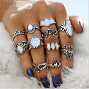 New Women 's Bohemian Vintage 12pc Ring Set